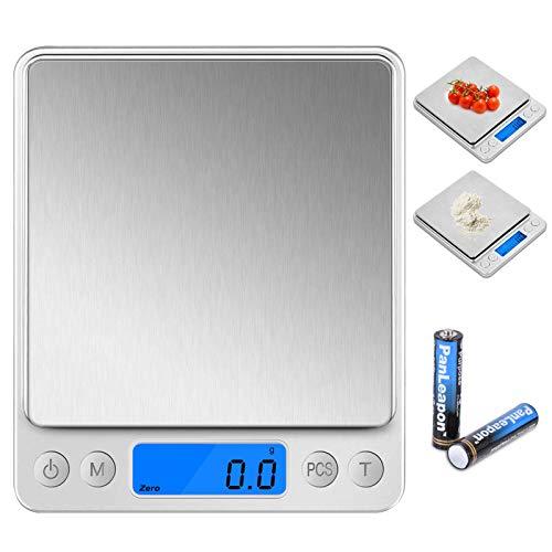 Wodgreat Küchenwaage,3kg (0.1g-genau) Elektronische Waage,Haushaltswaage mit praktischer Zuwiegefunktion,Batterien,LCD Display,Tara-Funktion,PCS Funktion,6 Einheiten Konvertierung,Edelstahl