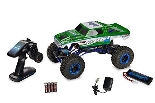 Carson 500404068 - Fuoristrada telecomandato, Scala 1:10, X-Crawlee 4WD, 100% RTR, 2,4 GHz, Verde