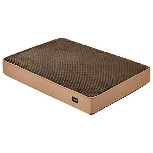 Amazon Basics - Cama para mascotas, espuma, tamaño mediano, color marrón (Brown Flannel)