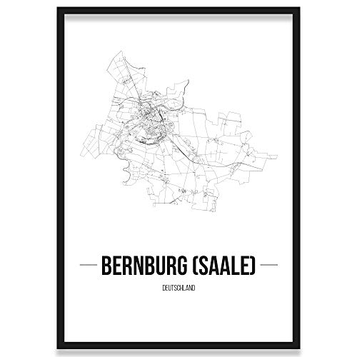 JUNIWORDS Stadtposter, Bernburg (Saale), Wähle eine Größe, 21 x 30 cm, Poster mit Rahmen, Schrift B, Weiß