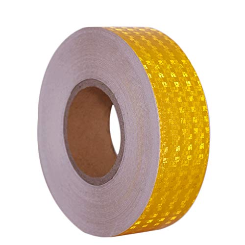Reflecterende tape gevaar waarschuwing tape licht in het oog springende weg waarschuwing sticker lijm markering Barrier tape Automotive reflecterende tape L50m × w50mm Geel