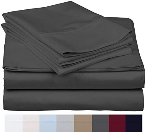 The Bishop Cotton 100% Egyptian Cotton 800 Thread Count 4 PC Solid Pattern Bed Sheet Set Italian Finish True Luxury Hotel Collection Fits Up to 16 Inches Deep Pocket (Cal-King, Elephant Grey).