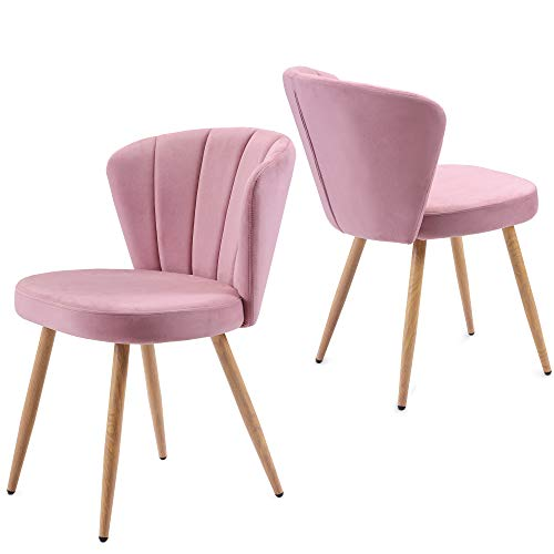 Futihing Juego de 2 sillas de comedor de terciopelo, asiento tapizado de tela con patas de madera de soild, sillón de ostra de tela de terciopelo, sillas de salón dormitorio (rosa, 2)