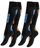 VCA - 2pares de calcetines funcionales de esquí para mujer, calcetines de esquí con acolchado especial, Otoño-Invierno, Mujer, color azul/naranja, tamaño 39-42