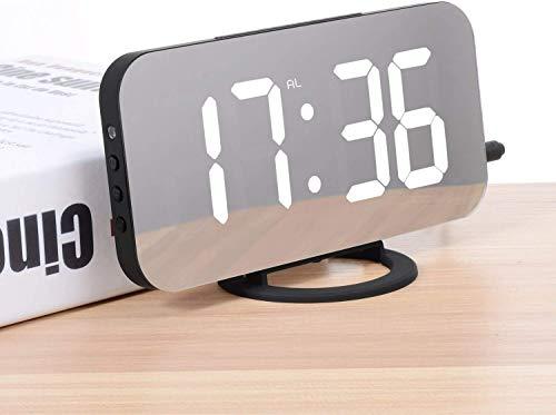 ADORIC Réveil Numérique, reveil Matin LED Miroir Horlogue Digitale Réveil de Chevet Réveil Matin, Lumière de Nuit, Luminosité Réglable (R1)