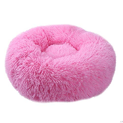 Big Incisors Dog Bed Long Plush Round Small Beds Portable Comfortablend Warm Sleeping Bag Soft Puppy Kennel House,Pink,M 60 cm