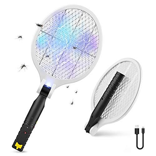 Raqueta Electrica Insectos Antimosquitos, lámpara UV plegable eléctrica para insectos, USB Recargable, Mata mosca eléctrica repelente de moscas, avispas e insectos