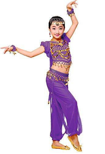 Grouptap Bollywood indische Kinder Mädchen Bharatanatyam Stil Bauchtanz Zweiteilige lila Kinder Kostüm Outfit Kostüm (110-130cm, Violett)