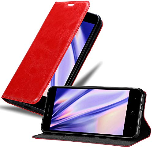 Cadorabo Hülle für BQ Aquaris U Plus - Hülle in Apfel ROT – Handyhülle mit Magnetverschluss, Standfunktion & Kartenfach - Case Cover Schutzhülle Etui Tasche Book Klapp Style