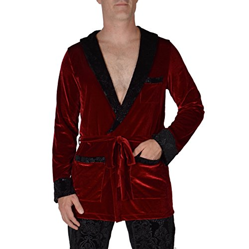Revolver Fashion - Hugh Hefner Velvet Smoking Jacket - Large/X-Large - Red Velvet Lounge Robe for home, parties, and more