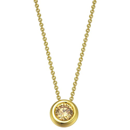 Joop! Damen-Collier 925 Silber Zirkonia goldfarben Rundschliff 40 cm - JPNL90721B420