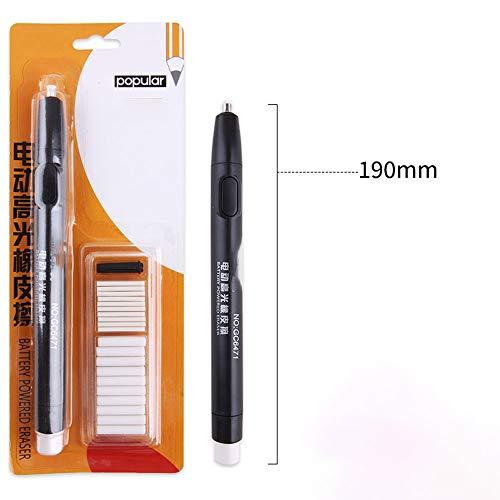 Guoc Borrador eléctrico Kit,Goma portátil automático eléctrico Goma de borrar lápiz con Borrador 20pcs recargas,Borrador con Pilas