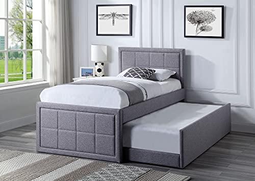 Home Treats Upholstered Bed Single | Trundle Bed Frame Single 3FT | Grey...