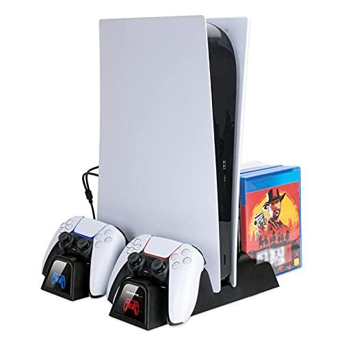 YDYBY Multifuncional Soporte Vertical para PS5 con Almacenamiento de 12 Discos de Juegos, Dual Estación de Carga para Mando PS5 con Ventilador de Refrigeración