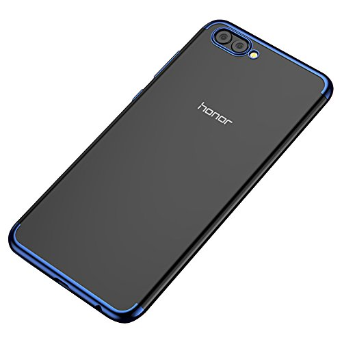 BLUGUL Funda Honor View 10, Electroplating Coloring, Ultra Fina, Transparente Suave TPU Silicona Cover Claro Case para Huawei Honor View 10 Azul