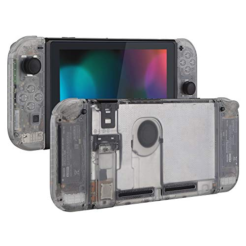 eXtremeRate Transparent Clear Back Plate for Nintendo Switch Console, NS Joycon Handheld Controller Housing with Full Set Buttons, DIY Replacement Shell for Nintendo Switch