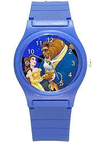 Beauty and The Beast on a Girls (real) Reloj de plástico azul y banda-10-15 días de envío