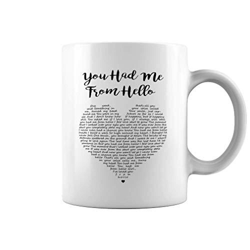 You Had Me from Hello Song Lyrics Ceramic Coffee Mug Tea Cup (, White)