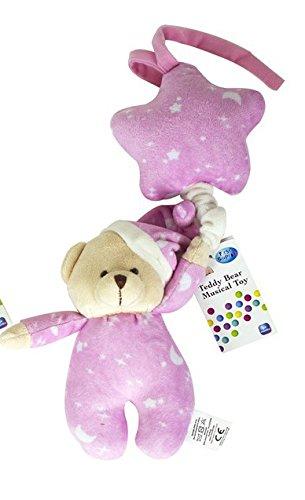 Primeros pasos suave peluche juguete musical Cable cesta cochecito cuna oso de peluche Star rosa
