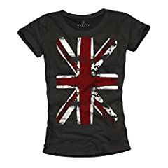 MAKAYA Union Jack - Camiseta con Bandera de Inglaterra para Mujer