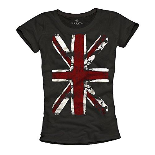 MAKAYA Union Jack - Camiseta con Bandera de Inglaterra para Mujer - Negra S