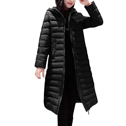 Women Puffer Down Jacket with Hood SFE Winter Lightweight Padding Thickened Warm Zip up Jacket Long Coats with Pocket Black