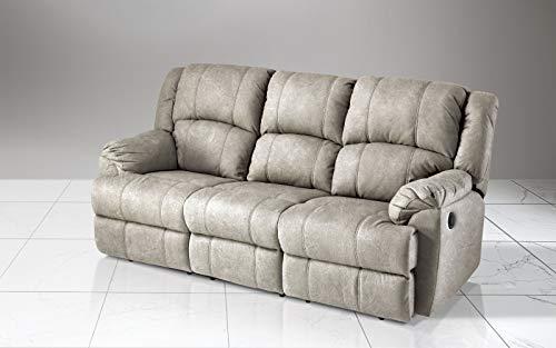 Dafne Italian Design - Sofá de 3 plazas con 2 reclinadores eléctricos. Piel sintética efecto...