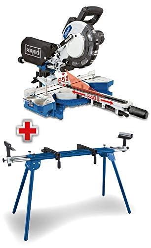 SCHEPPACH SET HM216 | Kapp- und Gehrungssäge | Zugfunktion | inkl. Untergestell UMF1550 | 2000 Watt | 216 mm Sägeblatt | Präzisionslaser | 65 mm Schnitthöhe