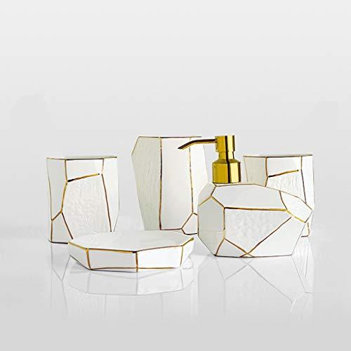 Soap bottles Bathroom Accessories Set , Hand Painted Gold Line Decoration Bone China 5-Pcs Bath Room Sets Include Soap Dispenser , Toothbrush Holder , Decorative Dish ,Mouthwash Cup lotion dispensers