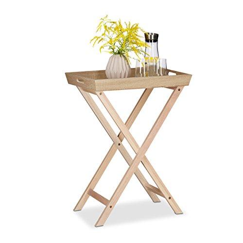 Relaxdays Table d'appoint avec plateau amovible en bois table pliante café pliable service HxlxP: 77,5 x 56,5 x 38,5 cm, nature