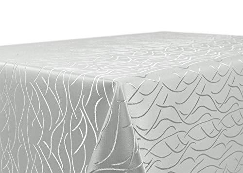 BEAUTEX Tischdecke Damast Streifen - Bügelfreies Tischtuch - Fleckabweisende, Pflegeleichte Tischwäsche - Tafeltuch, Eckig 130x220 cm, Hellgrau