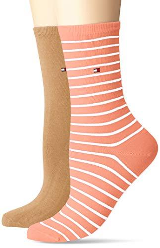 Tommy Hilfiger Damen TH WOMEN SMALL STRIPE 2P Socken, Orange (Peach/Coral 015), (Herstellergröße: 35/38) (2er Pack)