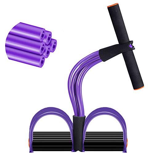 6 tubos de resistencia a pedales, cuerda de tracción, cuerda elástica para entrenamiento de abdomen, cintura, brazo, yoga, estiramiento, adelgazamiento (morado)