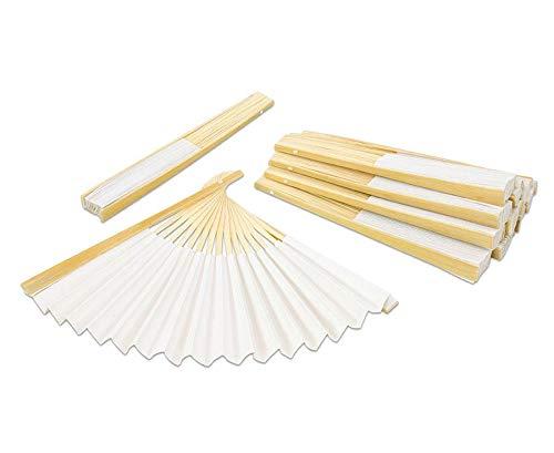 Unbekannt Papierfächer, 12 Stück, Papier Hand Fächer, zum Selbstgestalten, 25 x 12 cm, mit Holzrahmen,