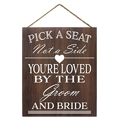 JennyGems Wood Wedding Sign | Wedding Ceremony Decor | Brown Farmhouse Country Sign | Pick A Seat Not A Side Youre Loved by Groom And Bride | Wedding Reception Ceremony Decor Sign | Wedding Directional Hanging Chair Sign (Brown)