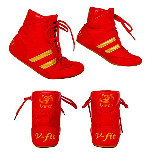 Viper Boxing Boots Mens Boys Girls Boxing Footwear Boxing Shoes (RED) (RED, Numeric_2)