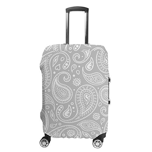 Travel Luggage Cover Silver Grey And White Paisley Pattern Suitcase Protector Fits 30-32in Luggage Washable Baggage Protective Cover