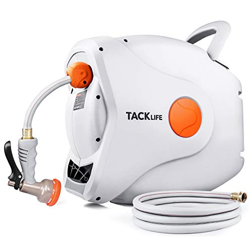 TACKLIFE Garden Retractable Hose Reel828 FT Hose5/8#039#039 Wall Mounted Retractable Hose Reel 8 Patterns Hose Nozzle/Brass Connector/Any Length Lock/Auto Rewind/180°Garden Watering Car Washing