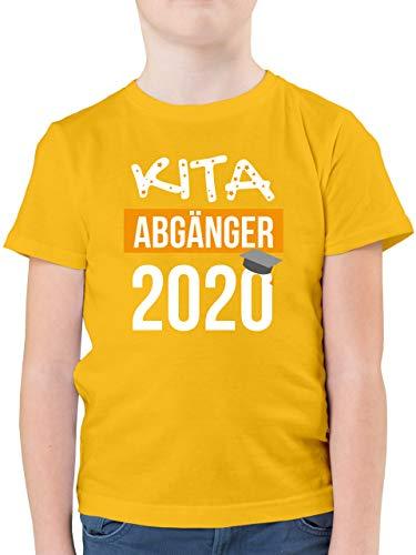 Einschulung und Schulanfang - Kita Abgänger 2020-128 (7/8 Jahre) - Gelb - Tshirt Kindergarten abschluss Einhorn - F130K - Kinder Tshirts und T-Shirt für Jungen