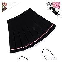 女性のカクテルドレス ミニスカートハイウエスト女性のスカートストライププリーツスカート弾性ウエスト女性スカートスウィートダンススカート格子縞のスカート LYNLYN (Color : 1812 2HS, Size : Large)