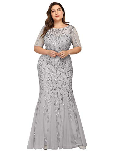 Ever-Pretty Women s Sweetheart Neckline Prom Formal Gown Mermaid Party Dress Plus Size Silver US16