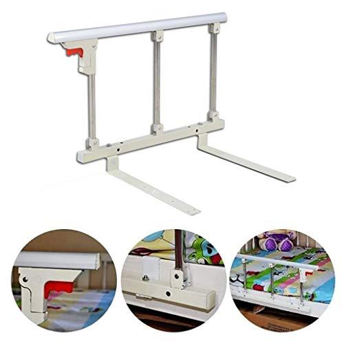 Bed Vangrail Opvouwbaar Bed Rail Veiligheid Zijbescherming voor Ouderen Volwassenen Handgreep Handicap Bed Leuning Ziekenhuis Metalen Grip Bumper Bar 27.6inch / 70cm Lang (Color : White)