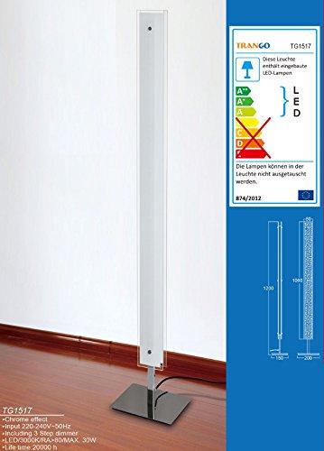 TG1517 LED Design Stehlampe Doppel-Glas inkl. 3 Stufen Dimmer
