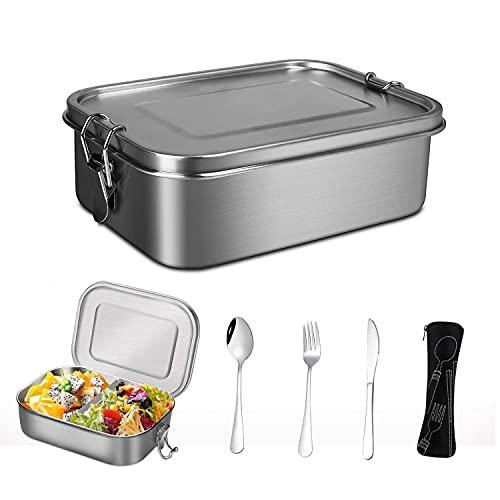 Boîte à lunch en acier inoxydable, boite bento en acier inoxydable avec cloison, boîtes bento est livrée avec une cuillère, une fourchette, un couteau, boîtes bento inox pour enfants et adultes