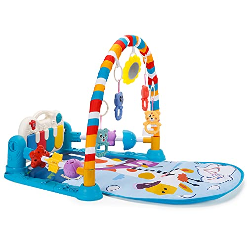 [Upgraded] Baby Gym Play Mat with Guardrail Design, Kick and Play Piano Gym Activity Center with 5 Hanging Toys for 0 – 3, 6, 12 Months Infants Baby Toys, Tummy Time Mat, Newborn Playmat, Baby Gift