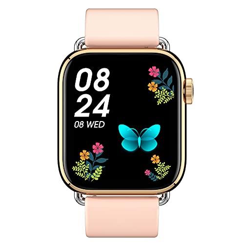 FMSBSC Smartwatch Pantalla de 1.69 Pulgadas Reloj Inteligente con Pulsómetros para Mujer Hombre, Pulsera de Actividad Inteligente con Monitor de Sueño/Oxigeno Contador de Caloría Cronógrafo,Rosado