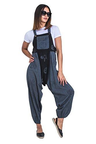 Wash Clothing Company Baggy Harem Latzhosen Schwarz-blau Boho Hippy Overalls OPELDARK-L
