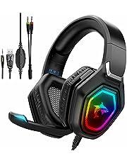 Zestaw słuchawkowy do gier z mikrofonem - Wlevzzor Zestaw słuchawkowy PS5 z mikrofonem z redukcją szumów Kolorowe oświetlenie LED RGB, fajne stereo na ucho na PS5 PS4, przełącznik Nintendo, Xbox One, laptopy, komputer, telefony