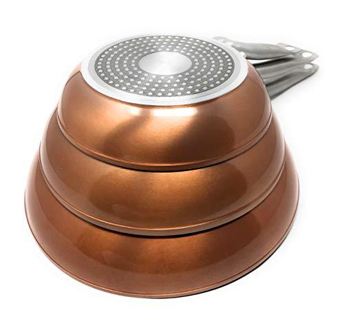 Royal Chef - Set di 3 Padelle Proffessionale Antiderente in Alluminio - Premium Quality - Ø 20, 24,...