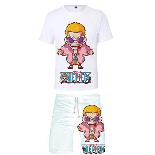 Adolescents Ensemble Short De Plage À Manches Courtes 3D Impression One Piece Roronoa Zoro Donquixote Doflamingo Graphique Sweat-Shirts D'extérieur Pantalons De Survêtement,A,M
